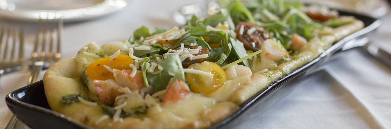 Fall Menu Appetizer. Photo of flatbread pizza.