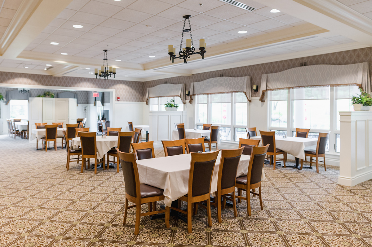 Dining room tables set in Irem Clubhouse